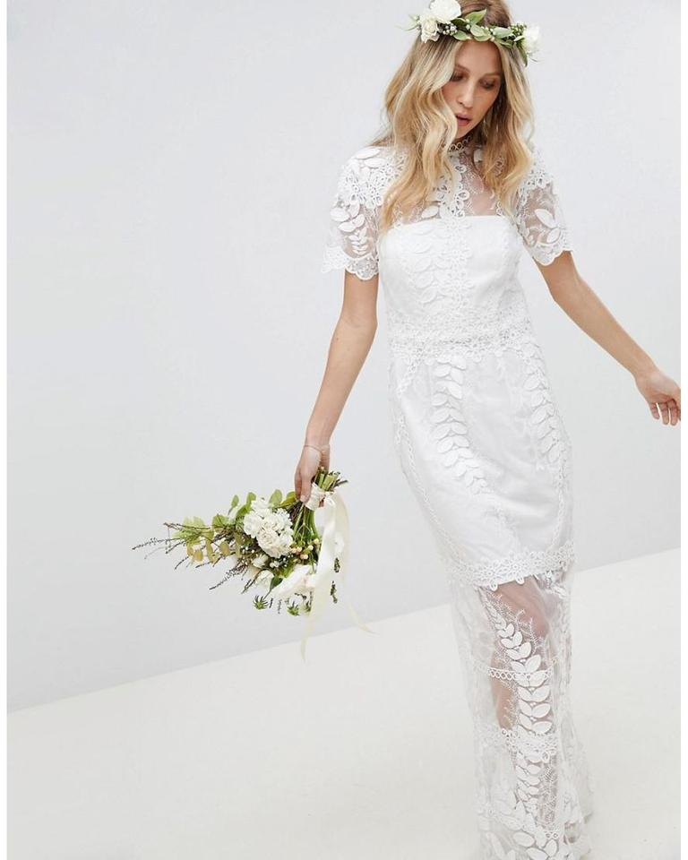 Asos White Lace Edition Corded Maxi With Scallop Hem Feminine