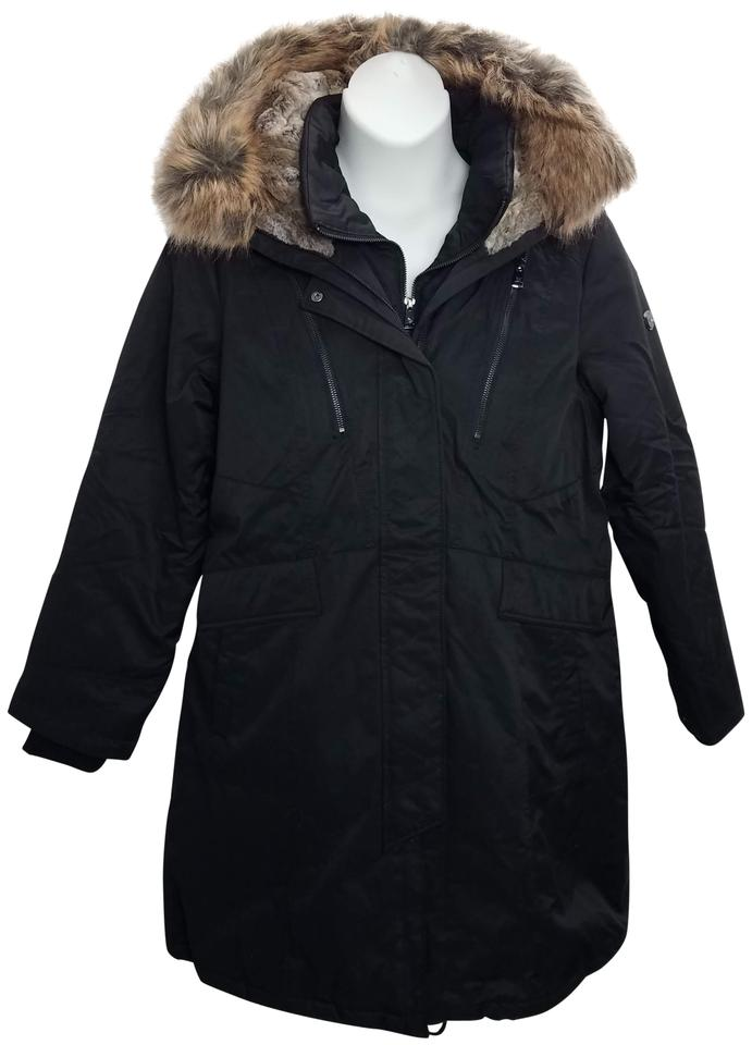 8695f5ddf23 1 Madison Black Faux Fur Long Anorak Parka Coat Size 20 (Plus 1x ...