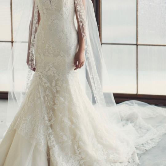 Ines Di Santo Off White Long Flower Embroidered Cathedral Bridal Veil