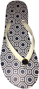 Tory Burch Navy Blue Ivory Multi Sandals