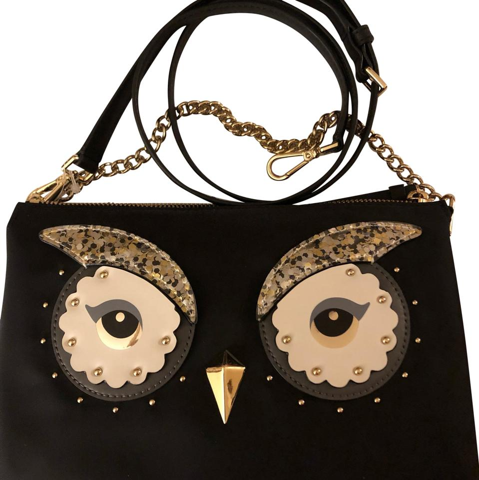 Kate Spade Chain Madeline Owl Or Black Nylon Leather Cross Body Bag 45 Off Retail