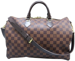 Louis Vuitton Lv Speedy Bandouliere 35 Damier Ebene Satchel in brown