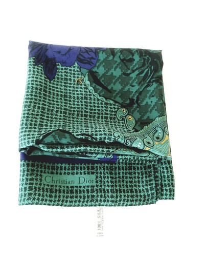 Dior Square Dior Purple Paisley Houndstooth Floral Scarf