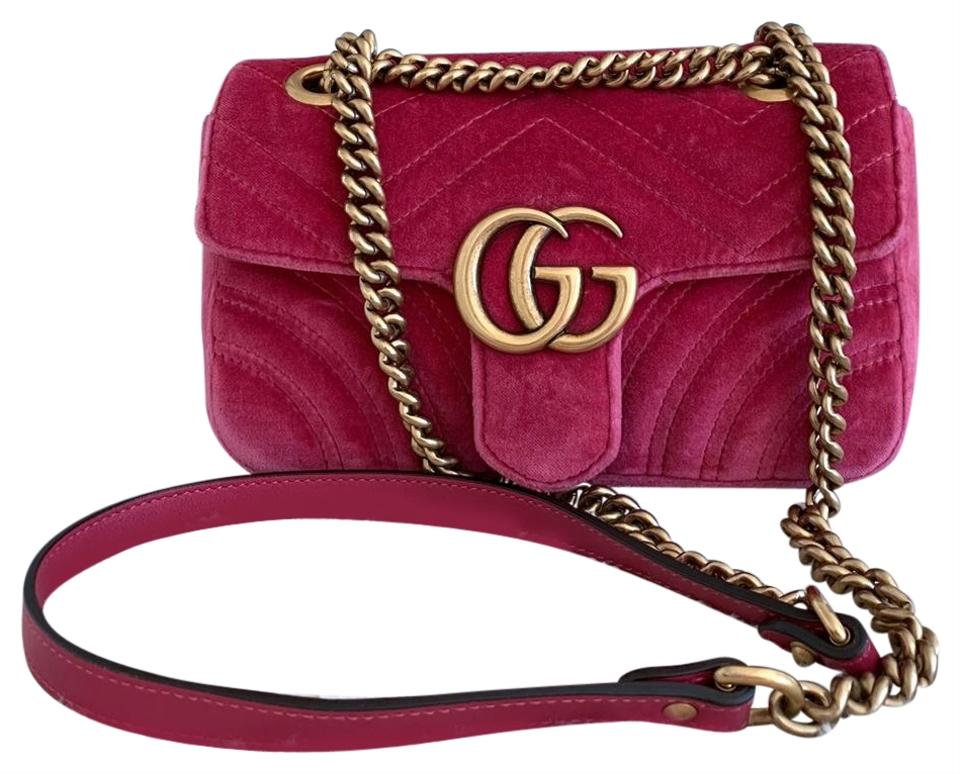c2420c6c8798 Gucci Marmont Gg Mini Quilted Shoulder Velvet Fuchsia Leather Cross ...