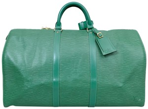 Louis Vuitton Duffle Shoulder Epi Green Travel Bag