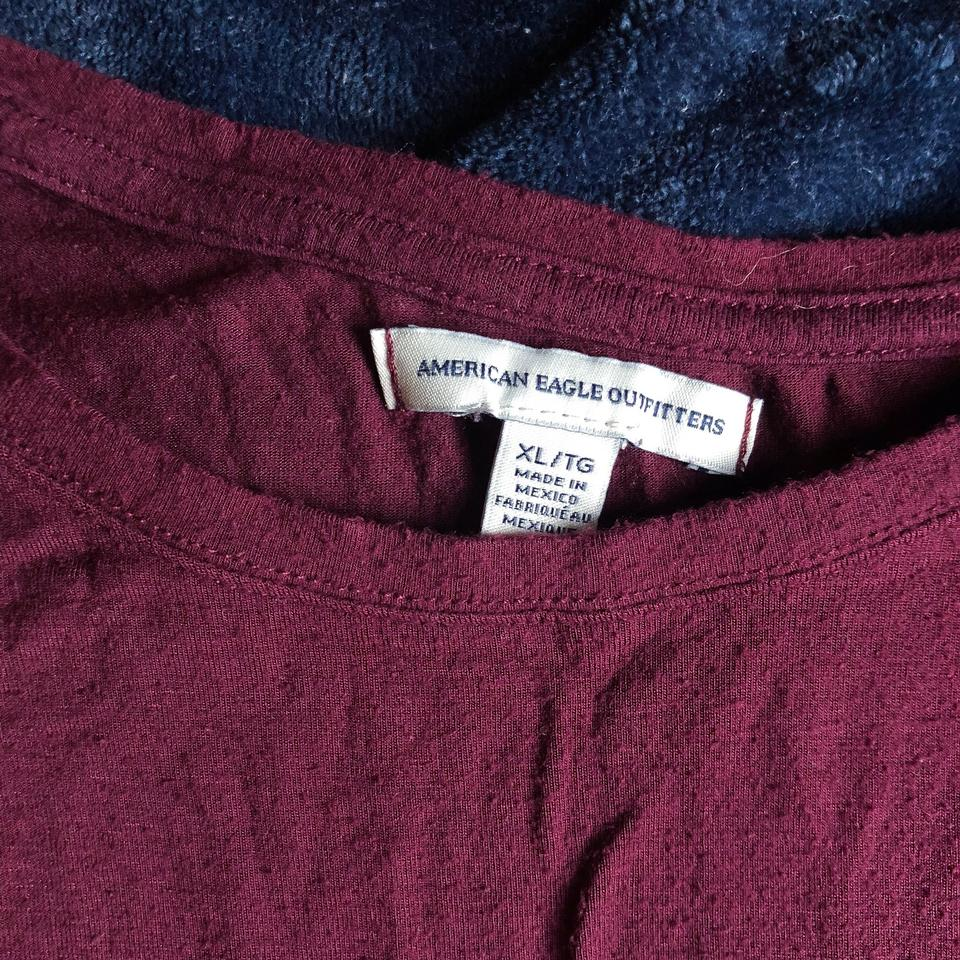 b2e1469988af1 American Eagle Outfitters Maroon Cropped Slit Sleeve Crop Tee Shirt ...