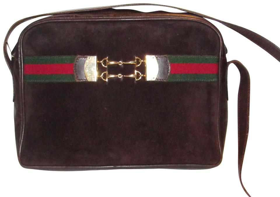 e6317c481e2 Gucci Mint Condition Rare Early Suede Leather Red Green Top Gold Center  Shoulder Bag ...