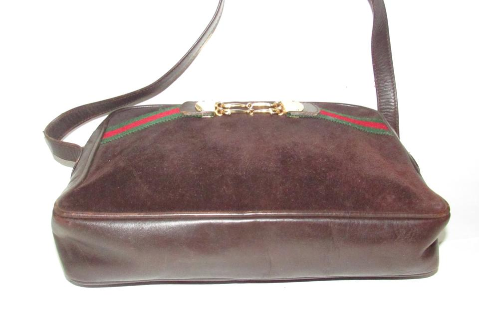 c50b016c795 Gucci Mint Condition Rare Early Suede Leather Red Green Top Gold Center Shoulder  Bag. 123456789101112