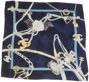 Chanel 100 % Silk Square Jewelry Motif Scarf