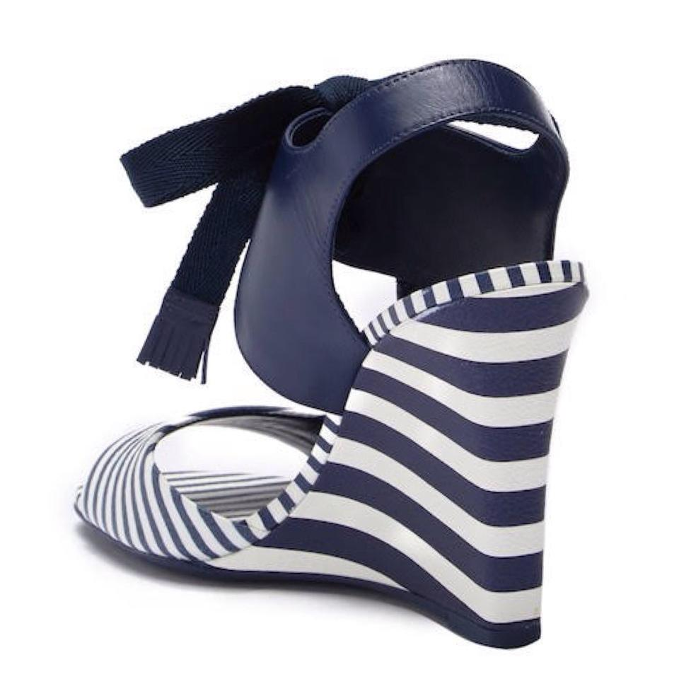 3b248610339 Tory Burch Navy   White Maritime Striped Sandal Wedges Size US 8 ...