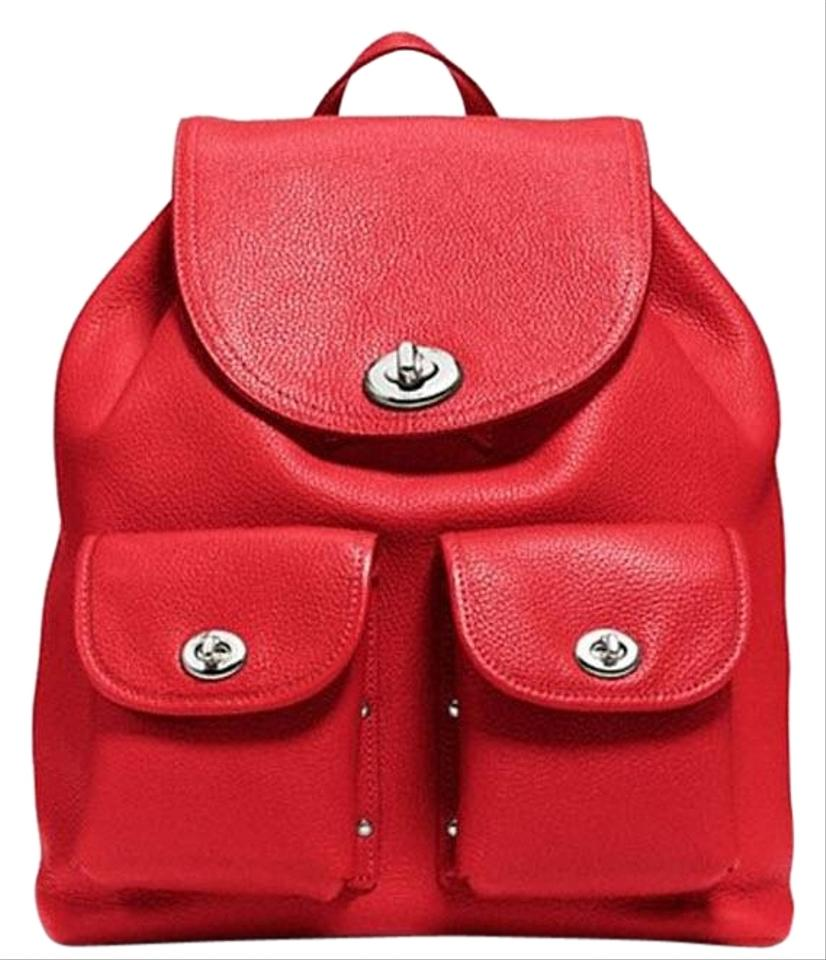 f4005df1f Coach Turnlock Red Pebble Leather Backpack - Tradesy