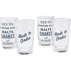 Kate Spade Clear/Navy New York Order's Up Set Of 4 All-purpose Glasses Serverware