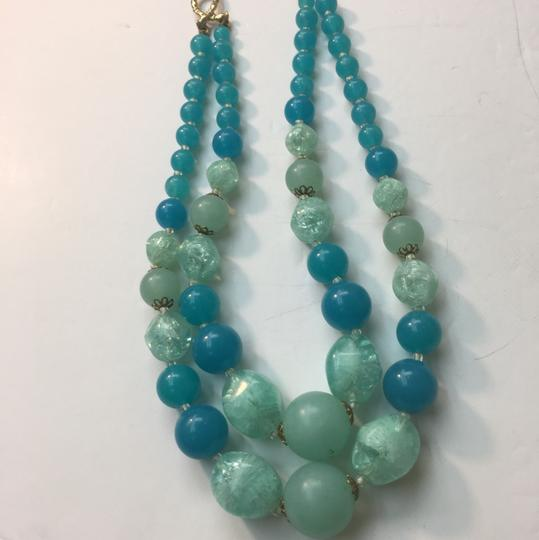 Vintage Vintage blue & green bead double strand necklace