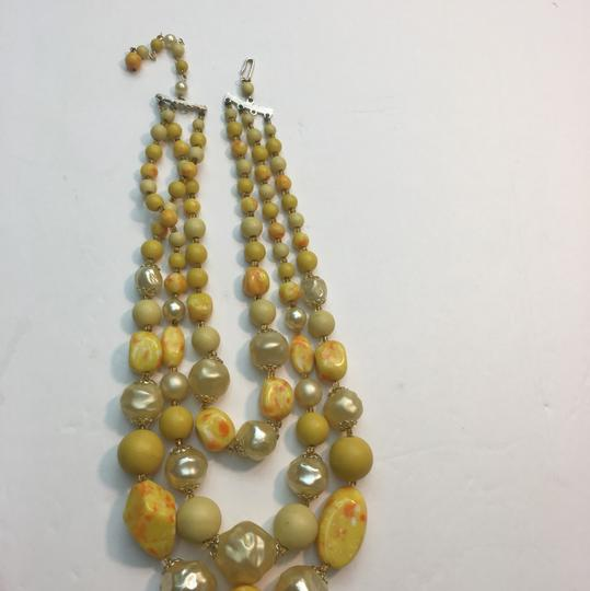 Vintage Vintage yellow pearl crystal bead double strand necklace