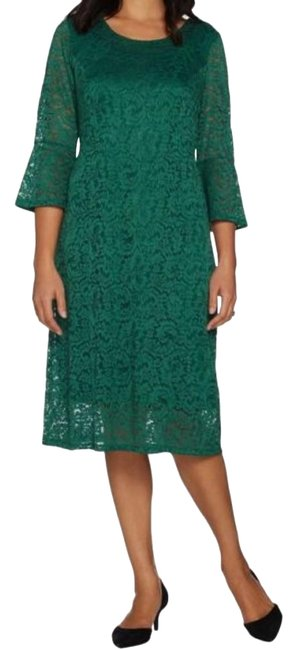 Preload https://img-static.tradesy.com/item/24671394/dennis-basso-emerald-green-stretch-lace-fit-and-flare-short-casual-dress-size-10-m-0-1-650-650.jpg