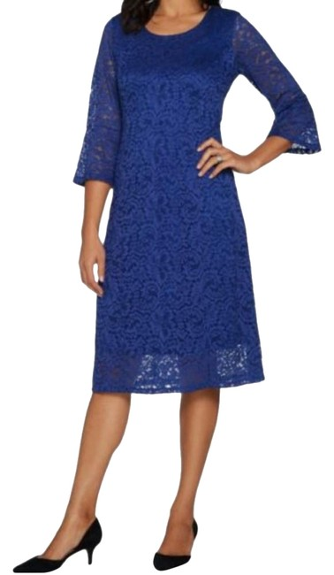Preload https://img-static.tradesy.com/item/24671400/dennis-basso-sapphire-stretch-lace-fit-and-flare-short-casual-dress-size-12-l-0-1-650-650.jpg