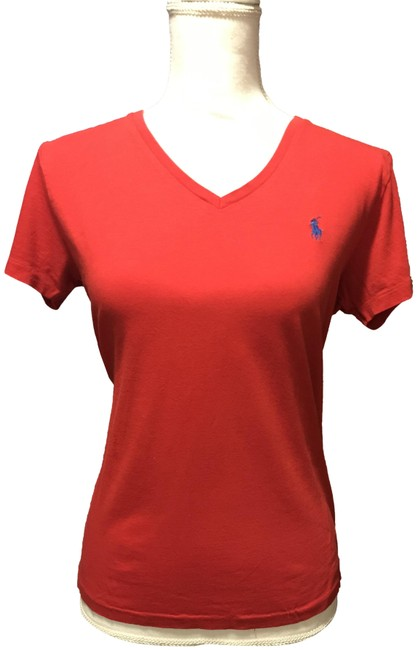 Item - Red Sleeve V Neck Tee Shirt Size 8 (M)