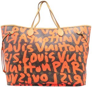 f0570e705dc1c Louis Vuitton Neverfull Graffiti Gm Orange Canvas Shoulder Bag - Tradesy