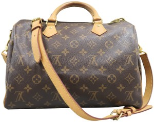 Louis Vuitton Speedy Canvas Satchel in Brown