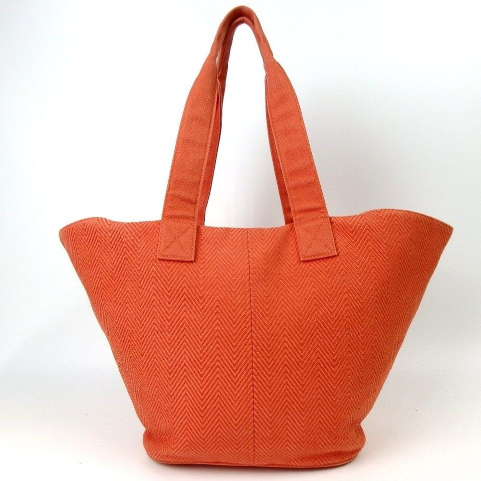 a34450a83ac Hermès Unisex Paniedo Platgeu Pm Beach Yachting Orange Feu Canvas Tote