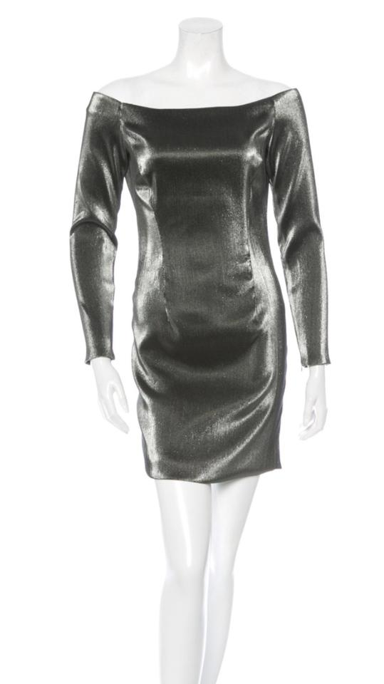 0e168f7e669b Haney Black Silver Off-the-shoulder Metallic Short Night Out Dress ...