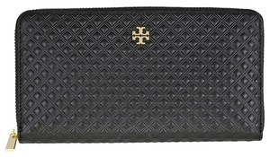 Tory Burch NEW TORY BURCH BLACK LEATHER QUILTED CONTINENTAL ZIP WALLET BAG