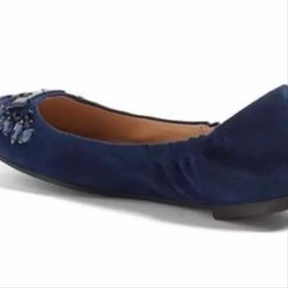 72bcd095350 Tory Burch Royal Navy New Delphine Crystal Logo Suede Ballet - Flats Size  US 7.5 Regular (M