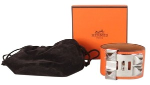 Hermès HERMES ORANGE CALF PALLADIUM HARDWARE COLLIER DE CHIEN CDC NIB RARE!! Sz S