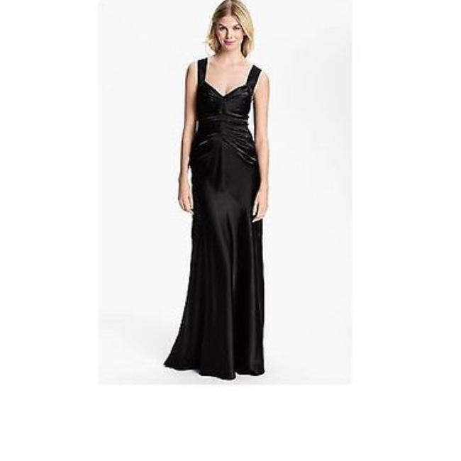 Item - Black Ruched Pleated Satin Gown Long Cocktail Dress Size 2 (XS)