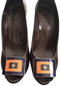 Tory Burch chocolate brown patent leather Platforms