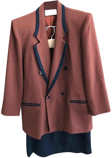 Item - Rust & Navy Double Breasted with Color Trim Skirt Suit Size 12 (L)
