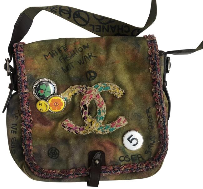 Item - Graffiti Toile On The Pavement Washed Khaki Canvas Messenger Bag