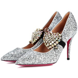 Gucci Crystal Embellished Glitter Made In Italy Luxury Wedding Silver Pumps