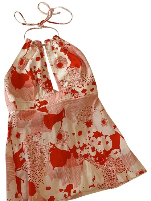 Item - Red/White Floral with Cutout Halter Top Size 4 (S)