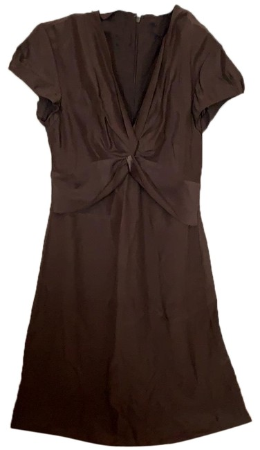 Item - Brown Silk Mid-length Cocktail Dress Size 4 (S)