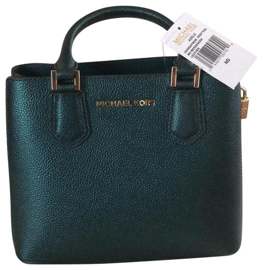 Preload https://img-static.tradesy.com/item/24673082/michael-kors-adele-medium-messenger-mettalic-satchel-deep-teal-pebbled-leather-and-gold-hardware-cro-0-1-540-540.jpg