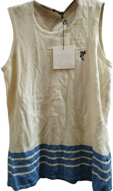 Item - Rayon and Cotton Sleeveless Off White Blue Sweater