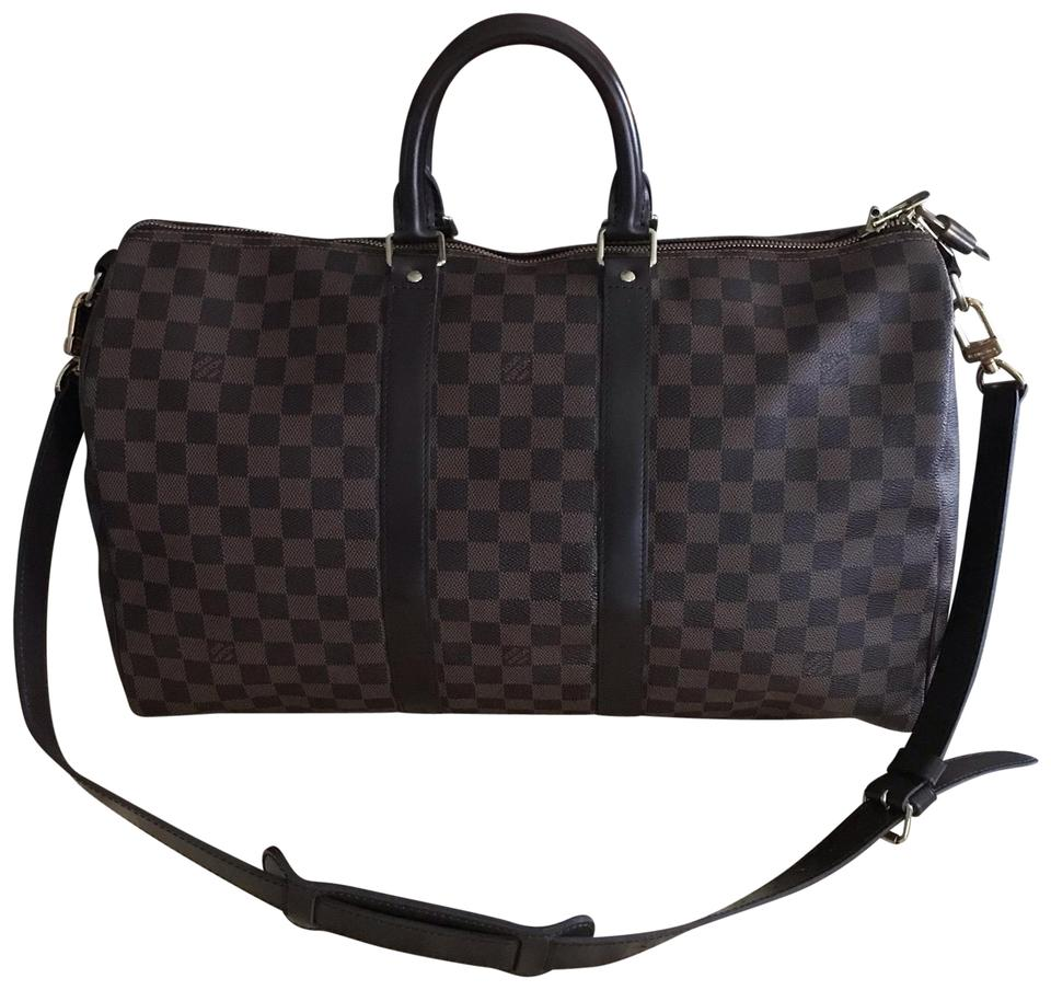 Louis Vuitton Duffle Keepall Bandouliere 45 Damier Ebene Canvas Brown  Leather Weekend Travel Bag 80a4bccffa