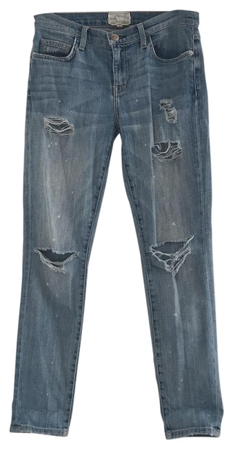 Item - Denim Distressed The Fling Relaxed Fit Jeans Size 27 (4, S)