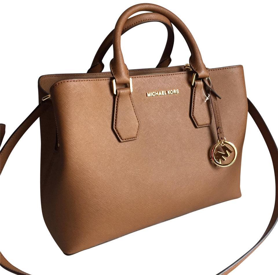 4652df7c899d Michael Kors Camille New Medium Brown Leather Satchel - Tradesy