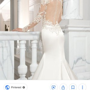 Demetrios Off White Beaded Sleeve Modern Wedding Dress Size 12 (L)