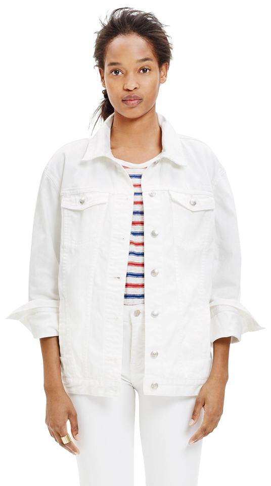 436113e27f1a3 Madewell White Oversized Jean In Item G5411 Jacket Size 0 (XS) - Tradesy