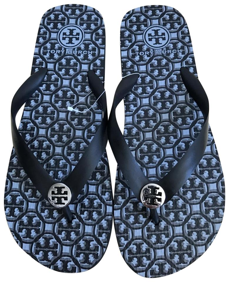 f2866ded0 Tory Burch Black Logo Latice Combo Thandie Flip Flop Sandals Size US ...