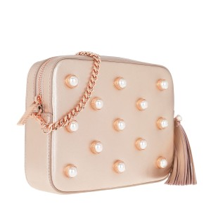 c3ecc02d8c3 Ted Baker New London Alessia Imitation Pearl Embellished Rose Gold Leather  Cross Body Bag