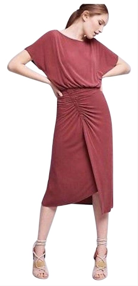 14a610988c41 Anthropologie Burgundy Ruched Long Casual Maxi Dress Size 0 (XS ...