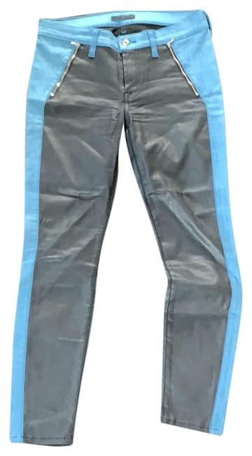 Item - Black Blue Coated And Contrast Skinny Jeans Size 8 (M, 29, 30)