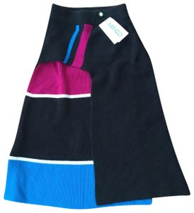 Kenzo Ribbed Knit Color-blocking Skirt Blue Black Pink White