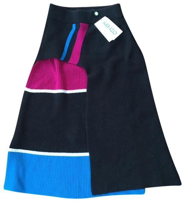 Kenzo Ribbed Knit Color-blocking Skirt Blue Black Pink White Image 0