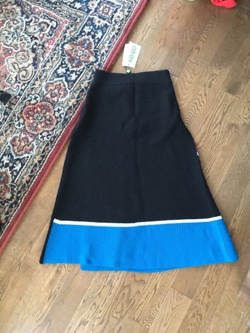 Kenzo Ribbed Knit Color-blocking Skirt Blue Black Pink White Image 2