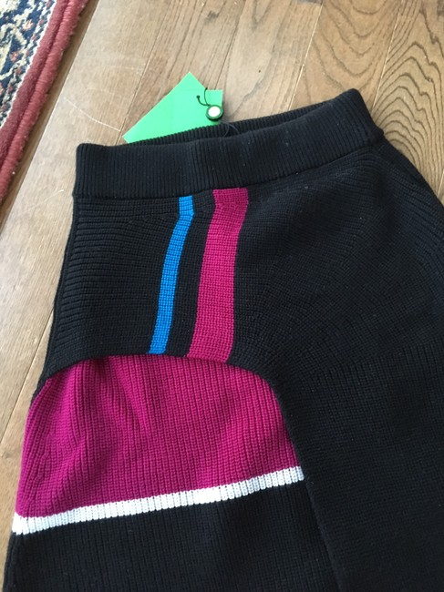 Kenzo Ribbed Knit Color-blocking Skirt Blue Black Pink White Image 3
